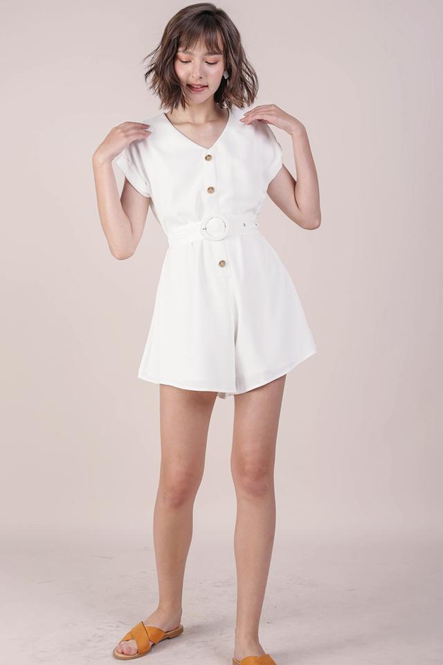 Kat Belted Romper (White)