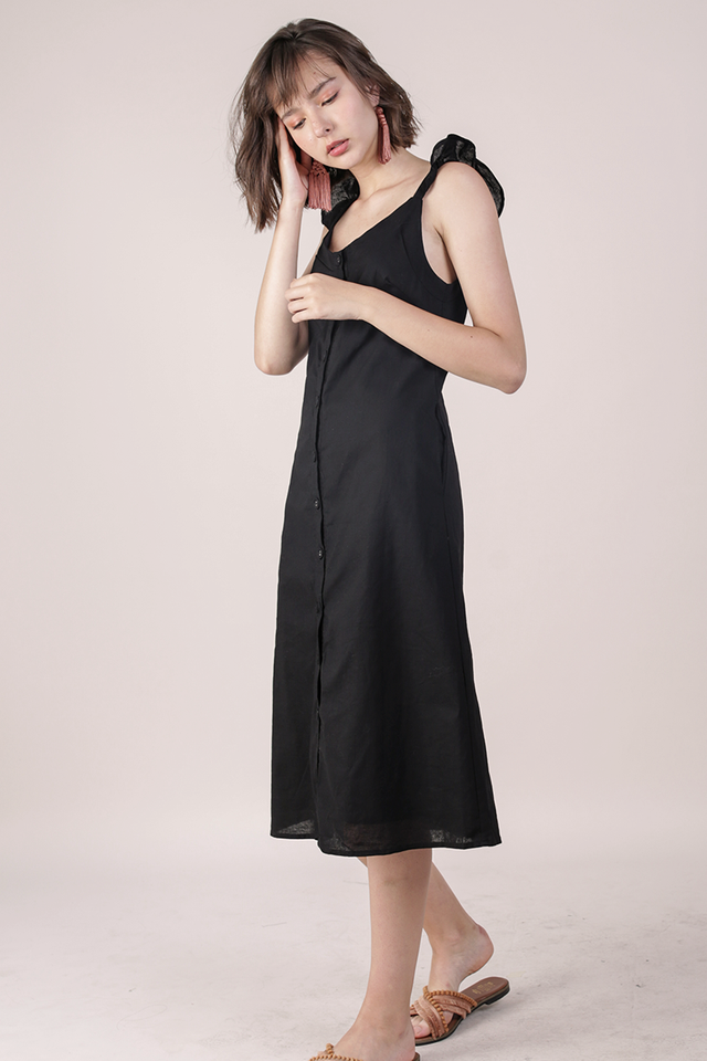 Ollie Button Midi Dress (Black)