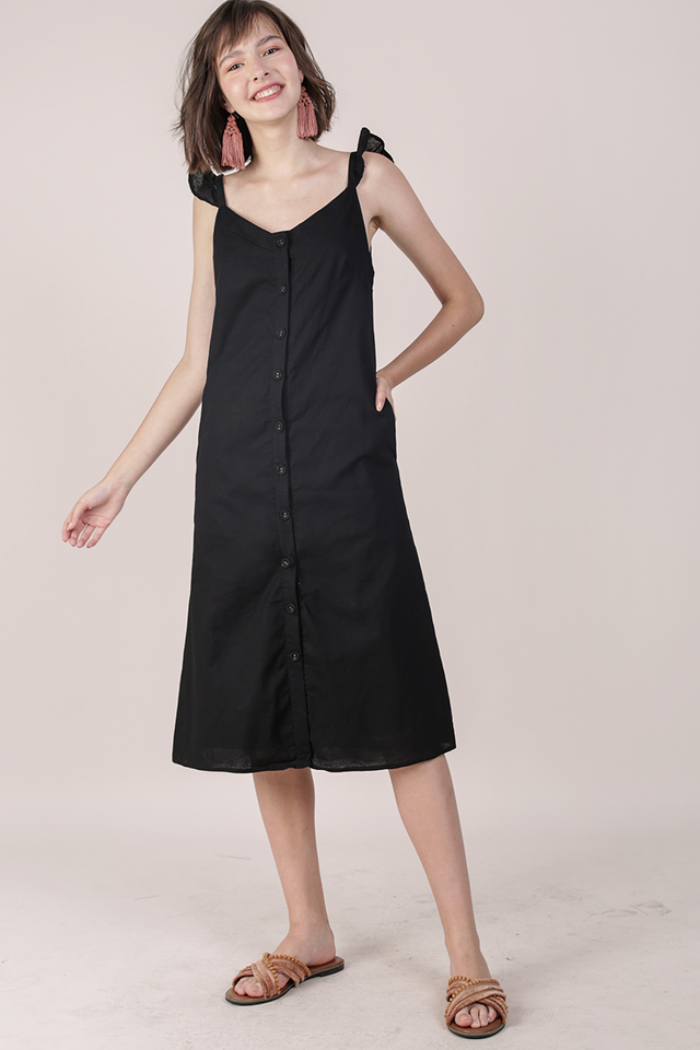 Ollie Button Midi Dress (Black)
