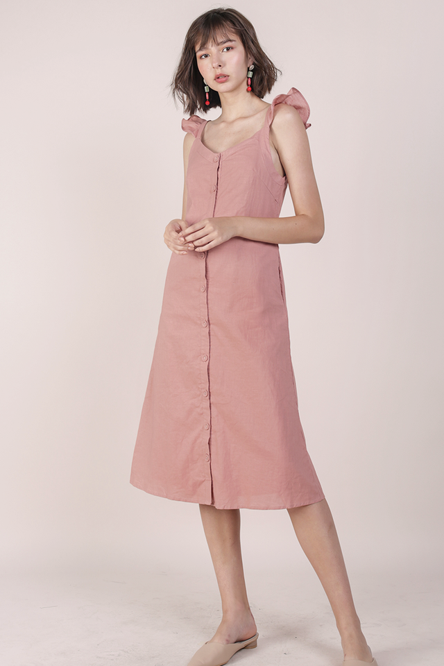 Ollie Button Midi Dress (Rose)
