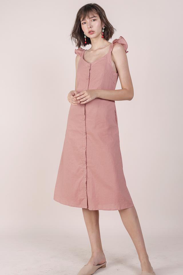 Ollie Button Midi Dress (Rose)