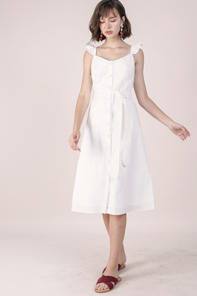 Ollie Button Midi Dress (White)