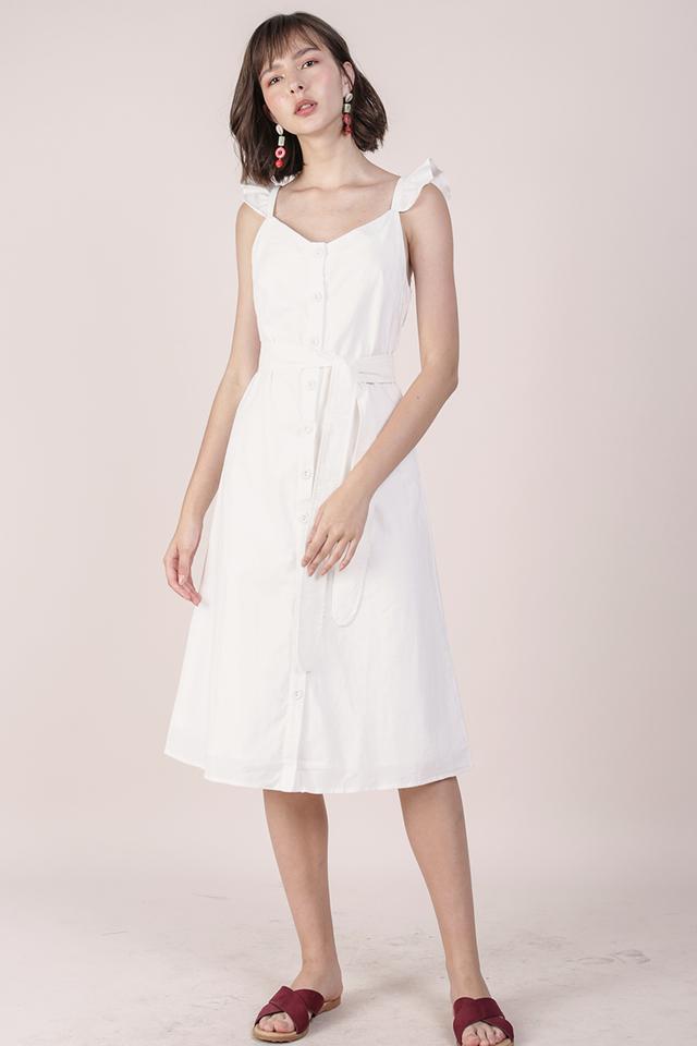 Ollie Button Midi Dress (White)