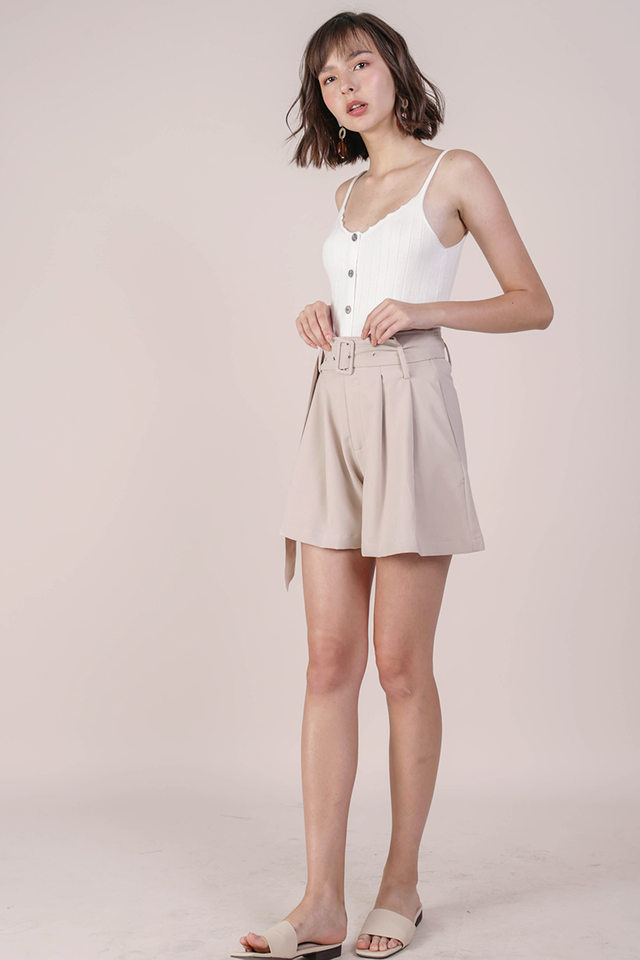 Mayson Belted Shorts (Beige)