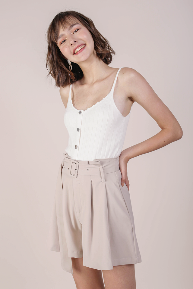 Mayson Belted Shorts (Beige)