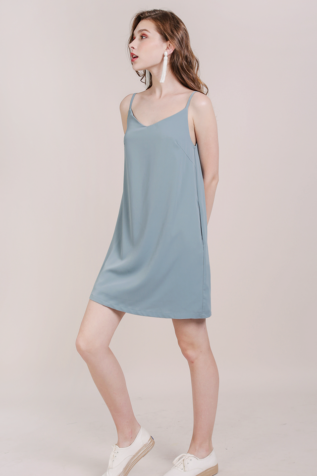 Thea Spag Dress (Dusty Blue)