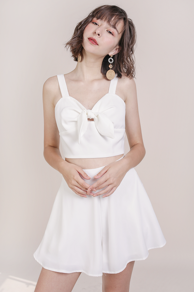 Poppy Tie Front Top (White)