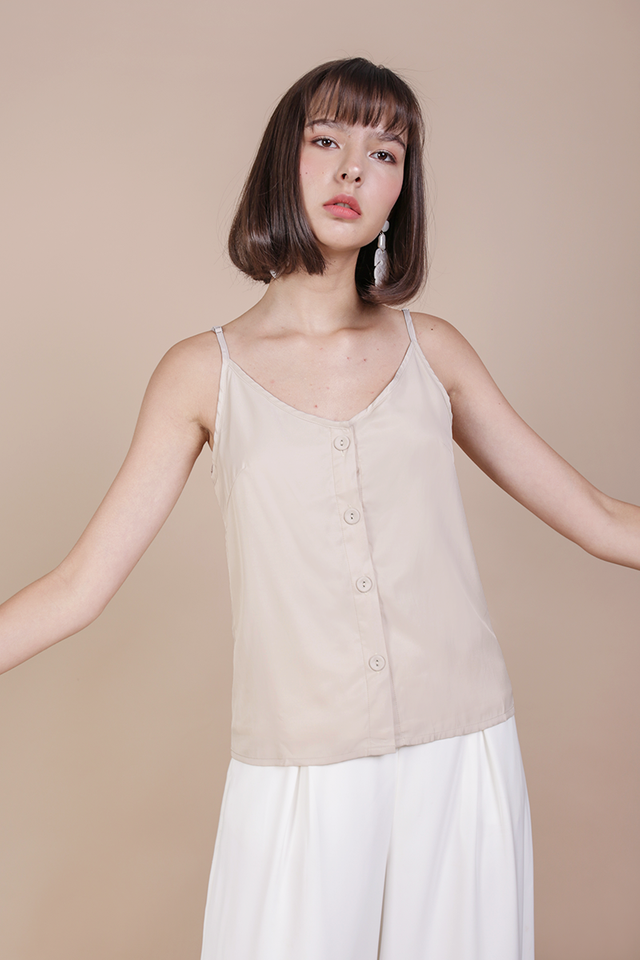 Alana Button Spag Top (Cream)