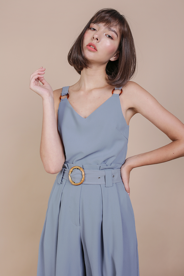 Sera Buckle Top (Dusty Blue)