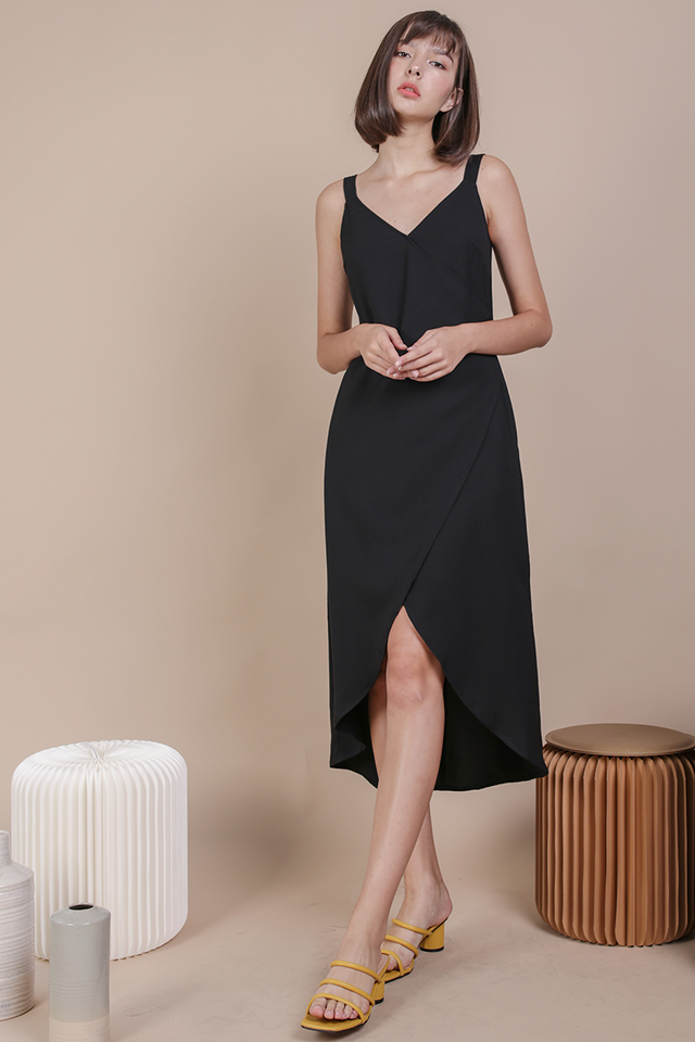 Coleen Wrap Front Dress (Black)