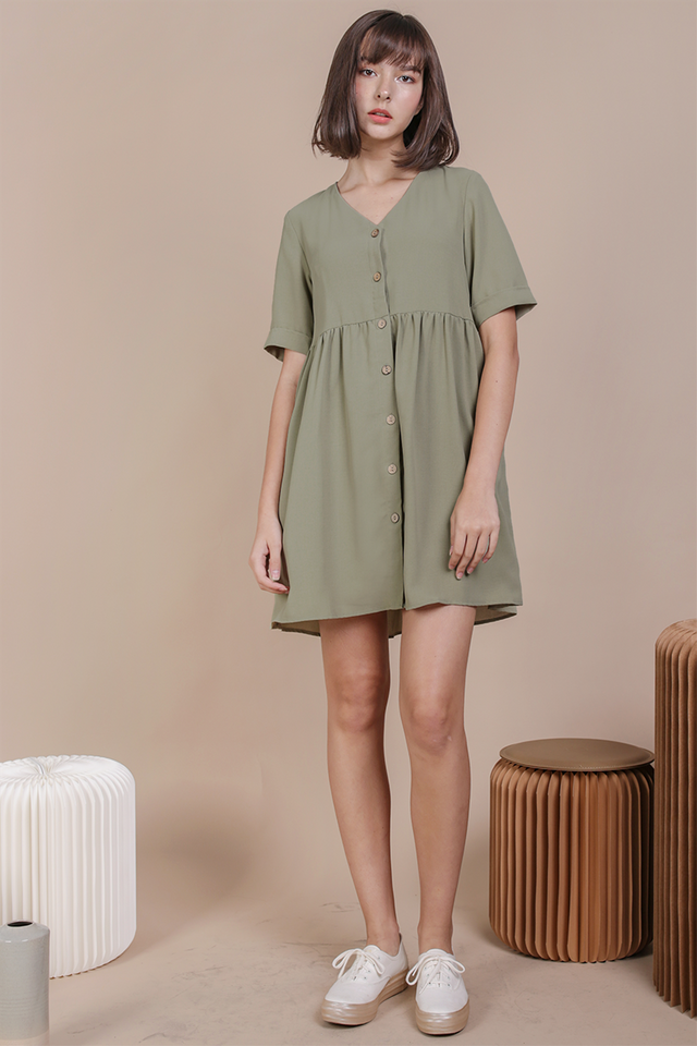 Casey Babydoll Dress (Sage Green)