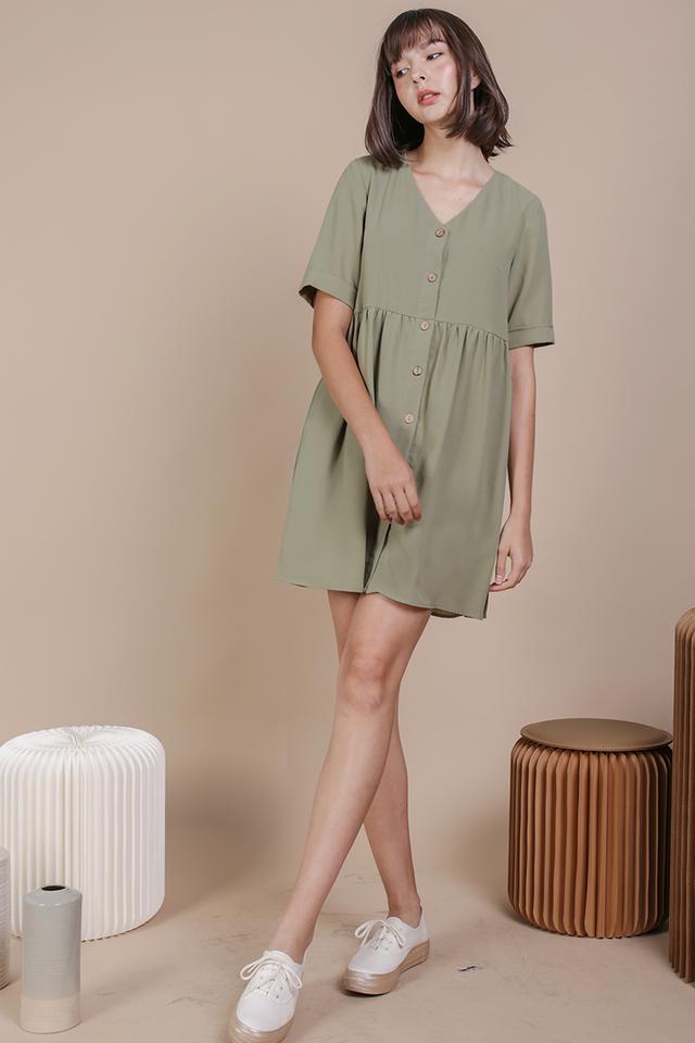 Casey Babydoll Dress (Sage Green)
