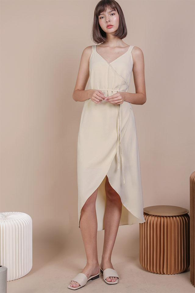 Coleen Wrap Front Dress (Cream)