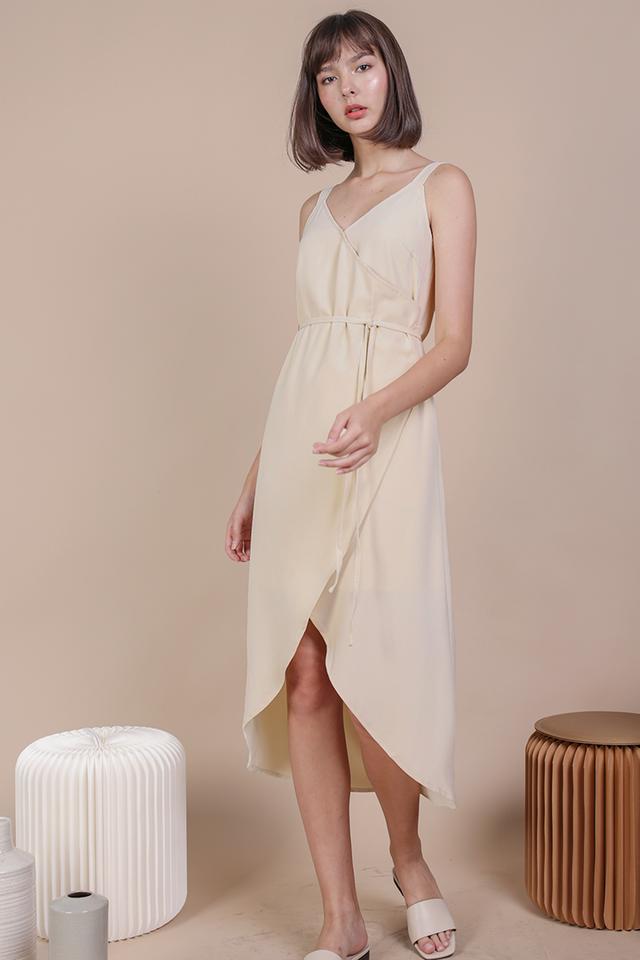 Coleen Wrap Front Dress (Cream)