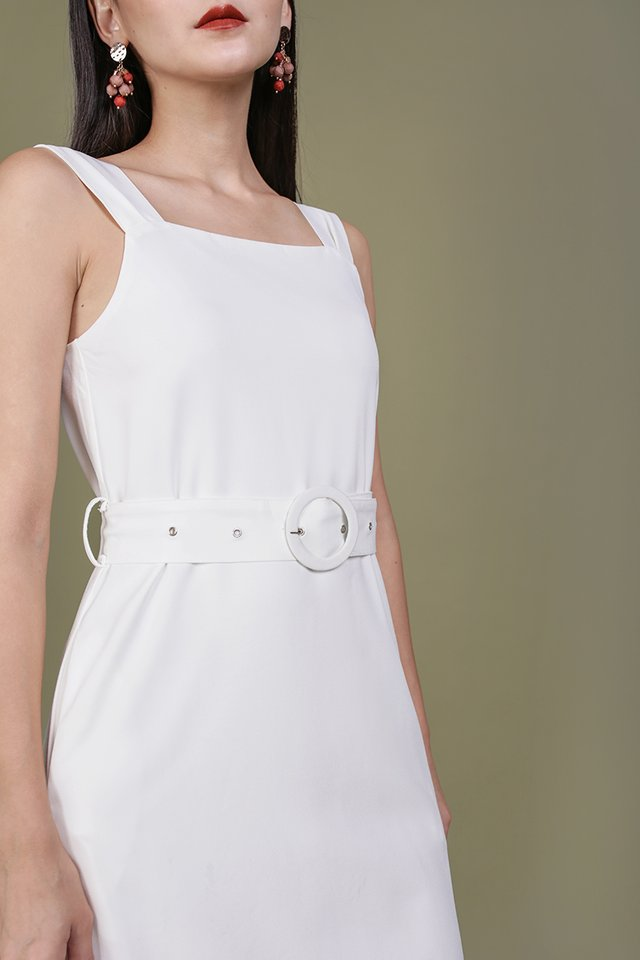 Idris Buckle Dress (White)