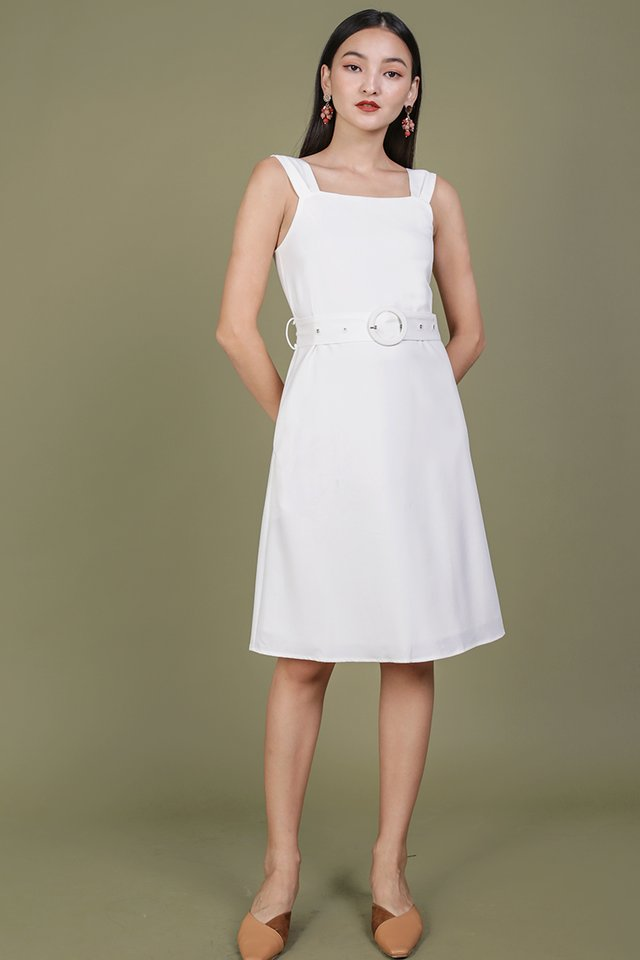 Idris Buckle Dress (White)