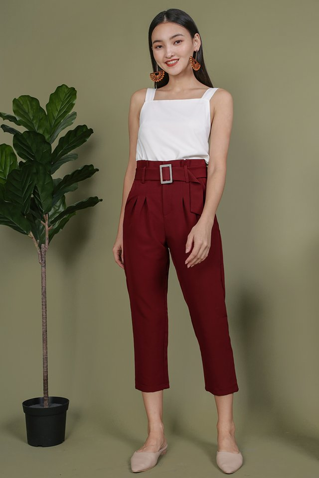 Devon Buckle Pants (Maroon)