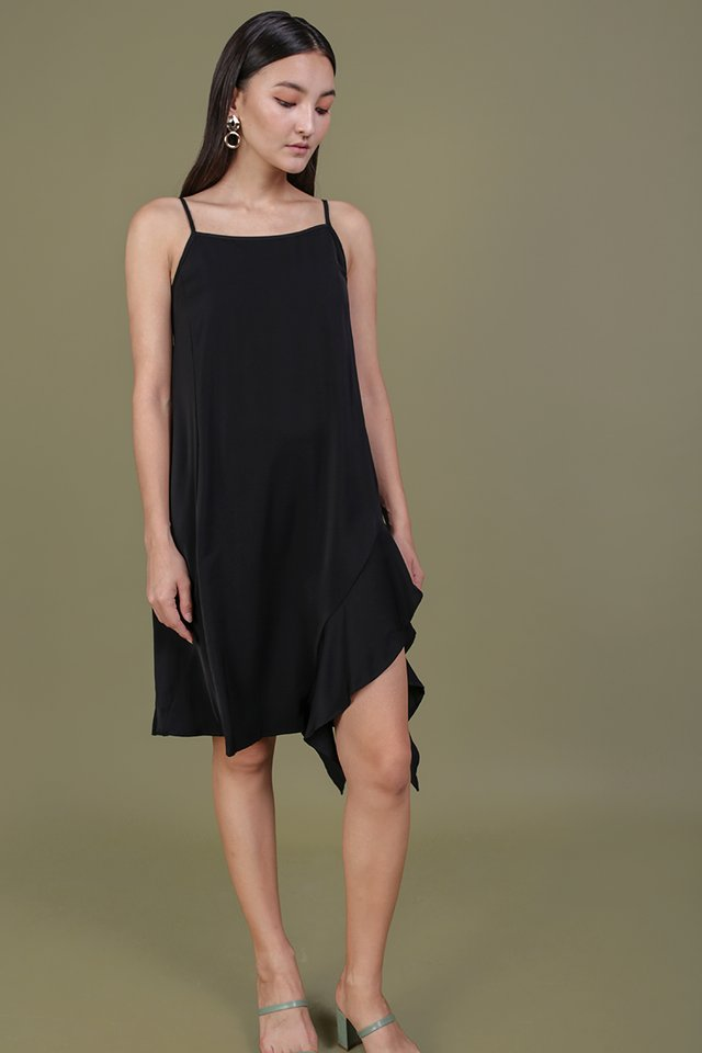 Linsay Ruffles Hem Dress (Black)