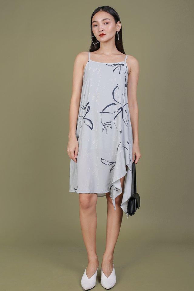 Linsay Ruffles Hem Dress (Floral Abstract)
