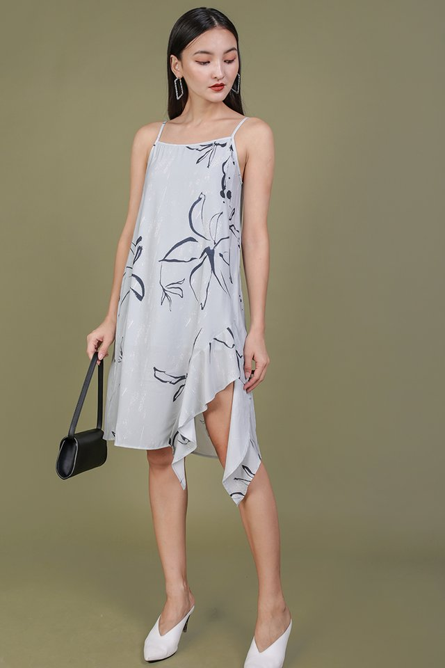 Linsay Ruffles Hem Dress (Floral Abstract)