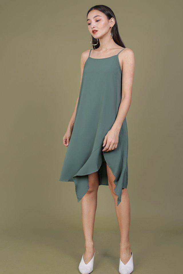 Linsay Ruffles Hem Dress (Slate Green)