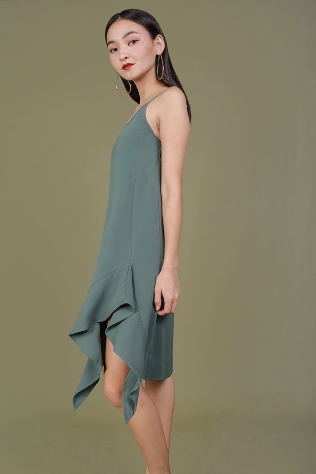 Linsay Ruffles Hem Dress (Slate Green)