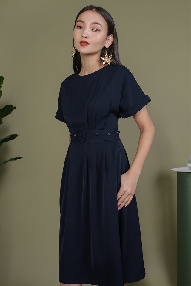 Loretta Midi Dress (Navy)