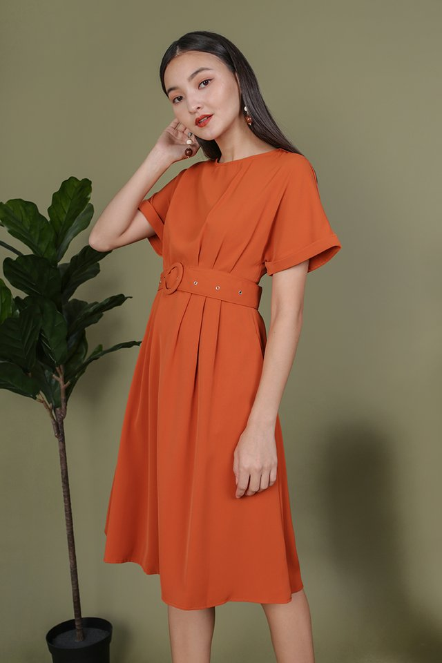 Loretta Midi Dress (Tangerine)