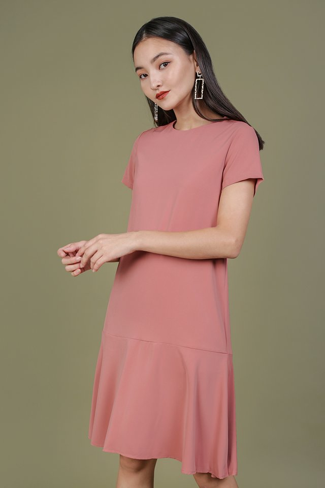 Livia Sleeved Midi Dress (Rosewood)