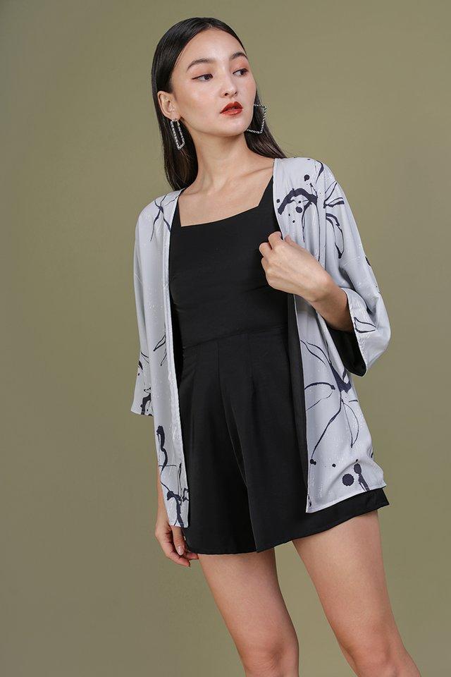 Jace Reversible Kimono (Floral Abstract/Black)