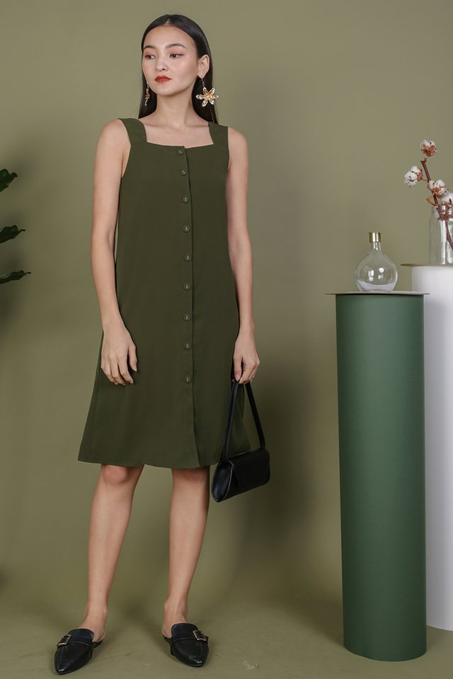 Miranda Button V Back Dress (Olive)