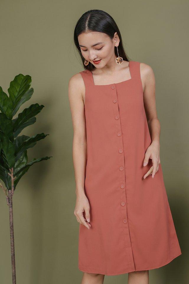 Miranda Button V Back Dress (Rosewood)