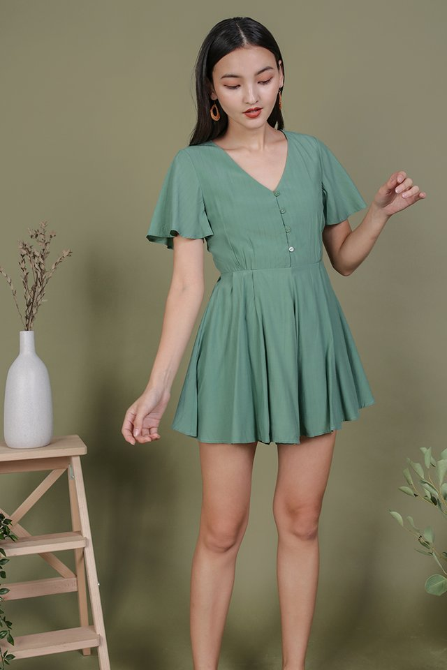 Theo Button Romper (Fern)
