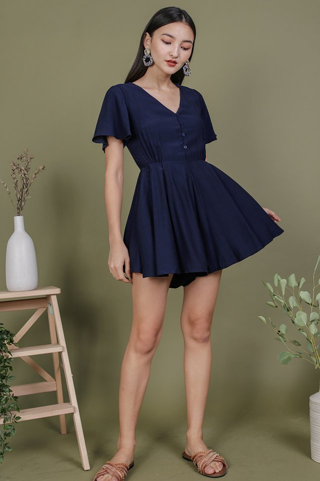 Theo Button Romper (Navy)