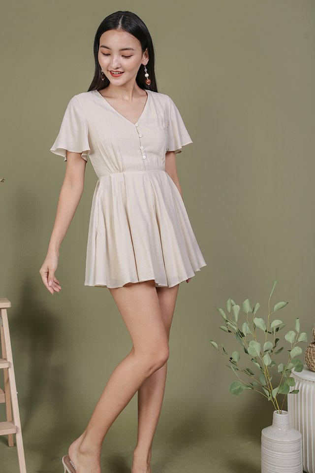 Theo Button Romper (Cream)
