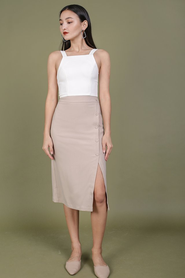 Gabriela Midi Skirt (Nude)