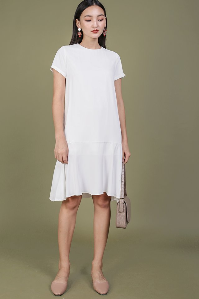 Livia Sleeved Midi Dress (White)