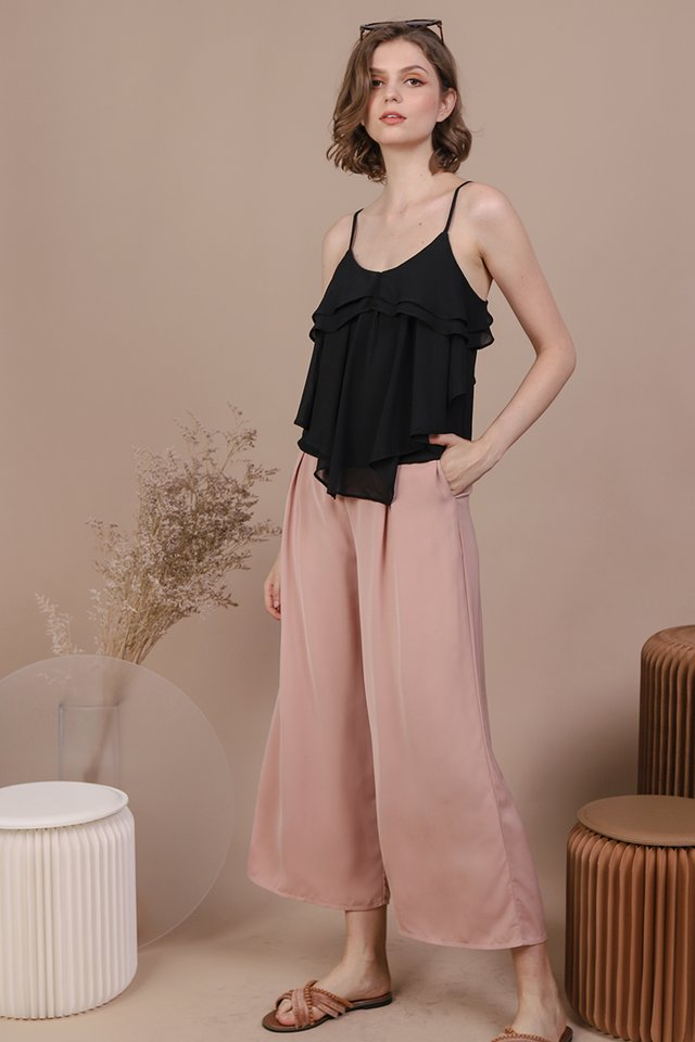 Edna Chiffon Top (Black)