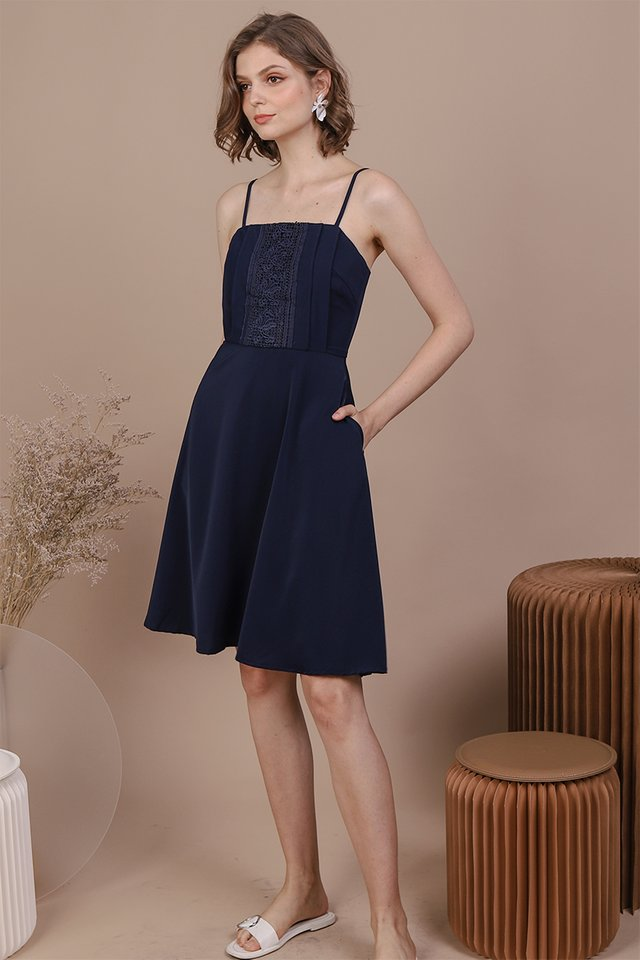 Kaye Crochet Dress (Navy)