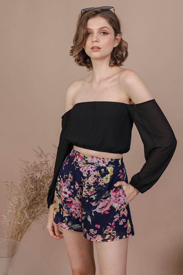 Magnolia Chiffon Shorts (Navy)