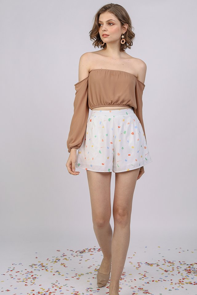 Petal Flare Shorts (White Celebration)