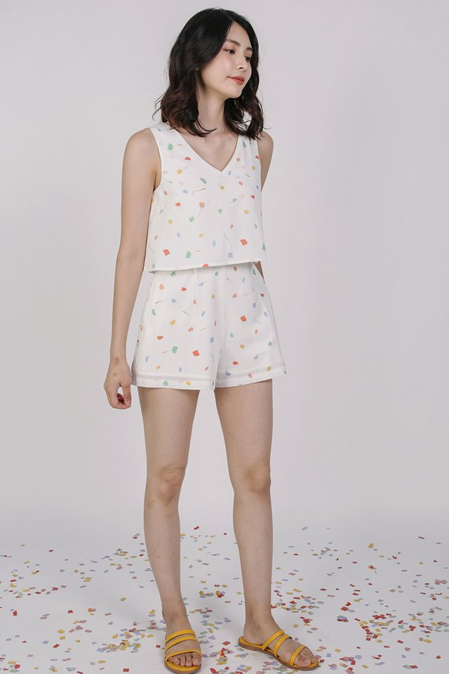 Sora Tiered Romper (White Celebration)