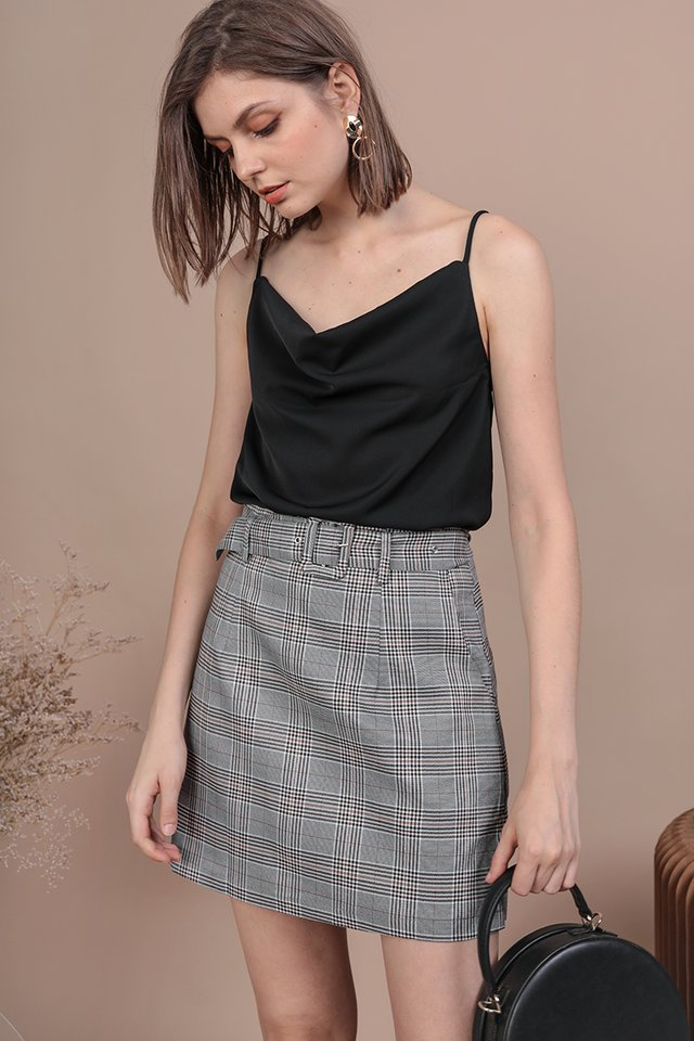 Mitchel Buckle Skirt (Grey Plaids)