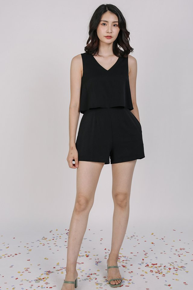 Sora Tiered Romper (Black)
