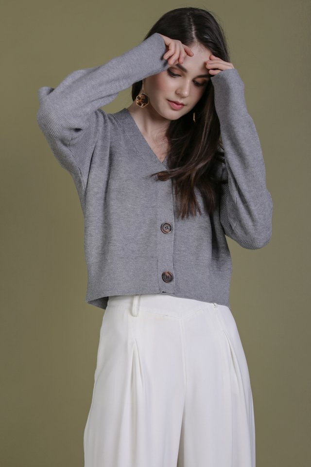 Pierre Cropped Cardigan (Grey)