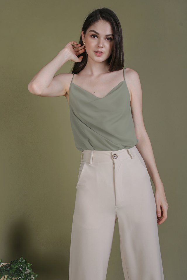Riva Cowl Neck Top (Sage Green)