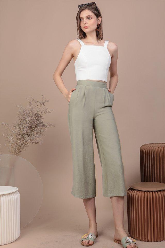 Dione Linen Culottes (Sage Green)