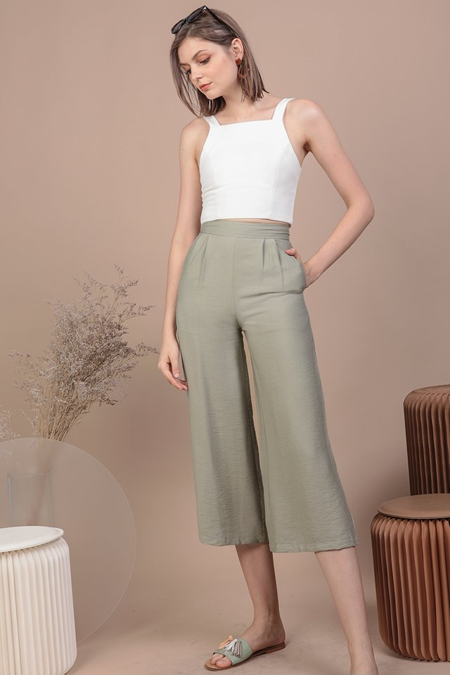 Dione Linen Culottes (Sage Green)