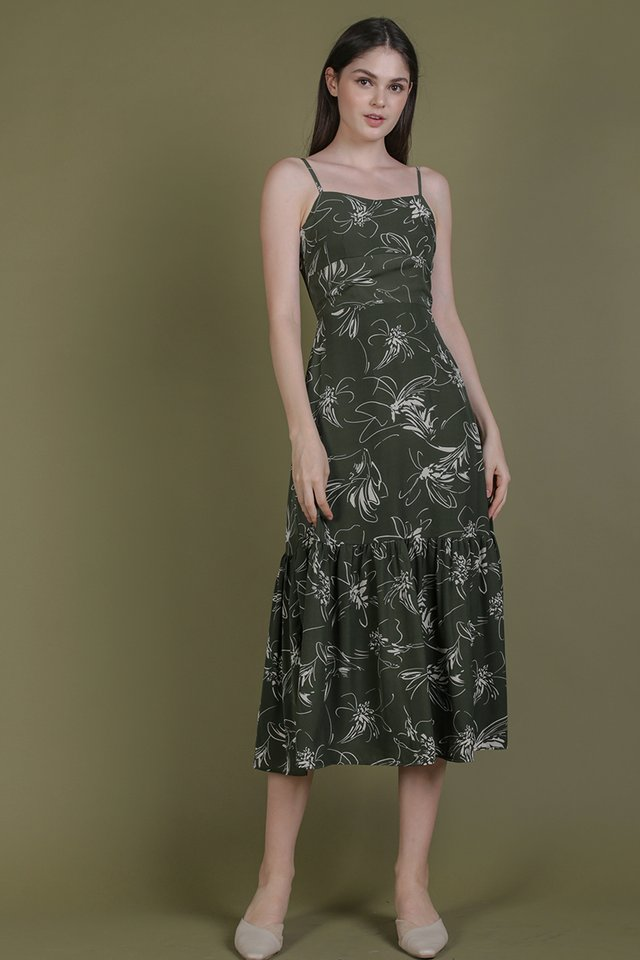 Harmony Maxi Dress (Olive Abstract)