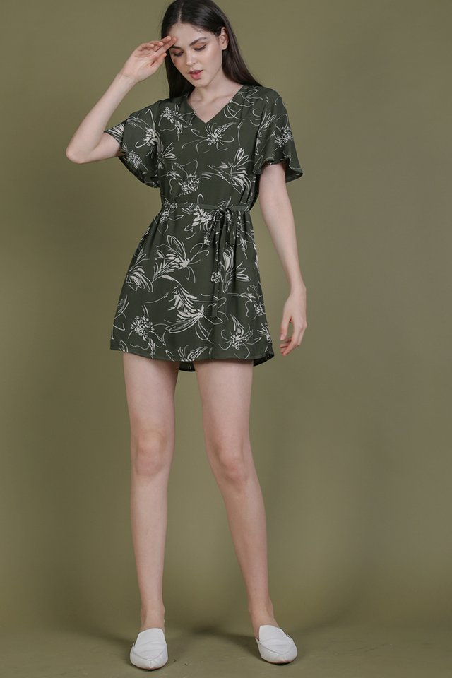 Elias Flare Sleeve Dress (Olive Abstract)